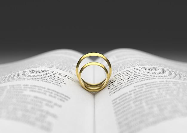 Anillo de bodas dos en la representación 3d de la página del libro ...