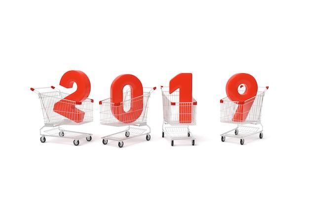Año nuevo 2019 con carrito de compras. Foto Premium