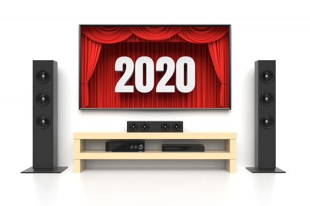 Año nuevo 2020 cine en casa en blanco Foto Premium