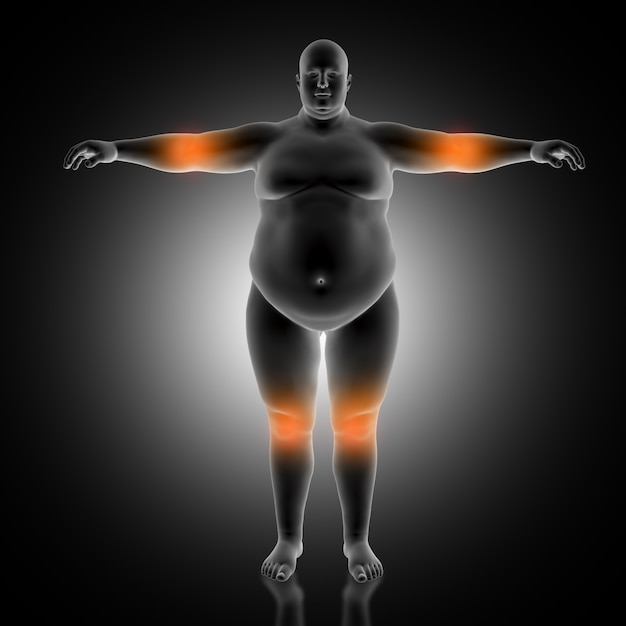 Antecedentes médicos en 3d del hombre con sobrepeso con codo y rodillas destacadas Foto gratis
