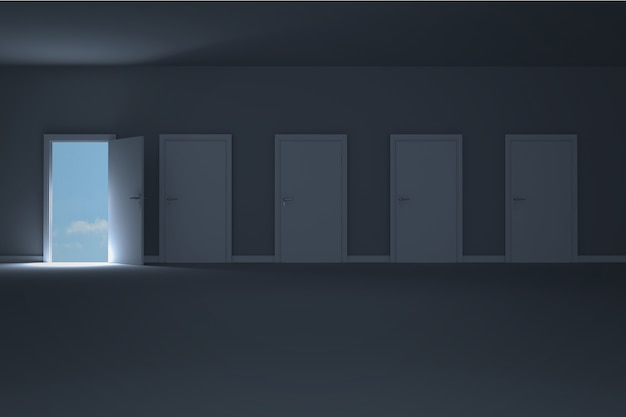 Apertura de la puerta en el cuarto oscuro para mostrar el cielo ...