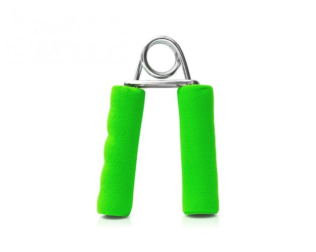Apretón de la mano aislado en el fondo blanco. fuerza de agarre para el ejercicio. Foto Premium