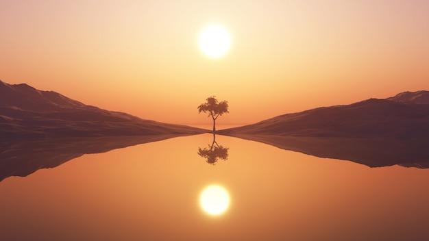 Árbol 3d contra el cielo del atardecer Foto gratis