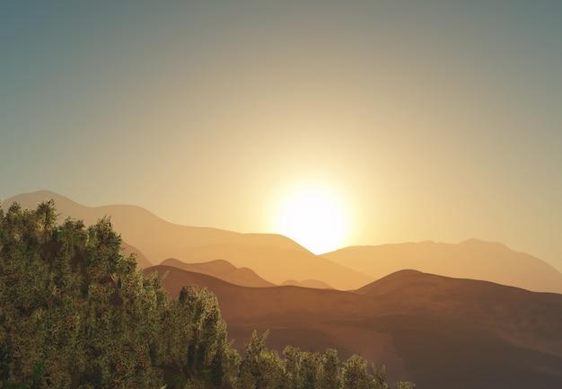 Árbol 3d y paisaje de montaña al amanecer Foto gratis