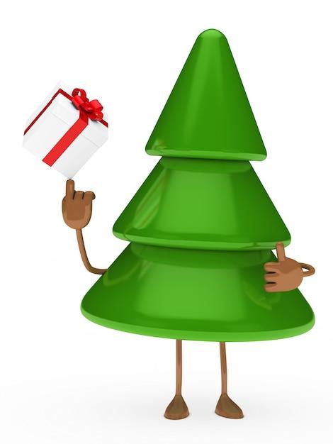 Rbol de navidad jugando con un regalo descargar fotos - Arbol de navidad con regalos ...