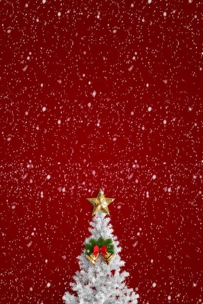 rbol de navidad sobre un fondo rojo con estrellas foto gratis