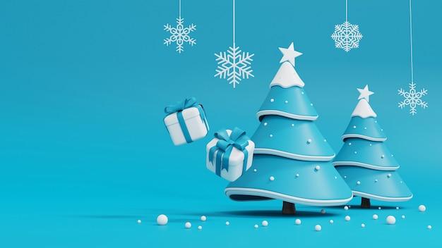 Árbol de navidad y caja de regalo en azul Foto Premium