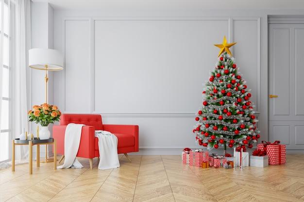 Rbol de navidad decorar en sala de estar moderna sof - Decoracion navidad moderna ...