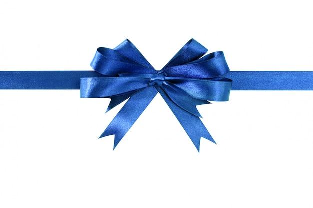 Arco azul real del regalo arqueamiento horizontal recto aislado en blanco. Foto gratis