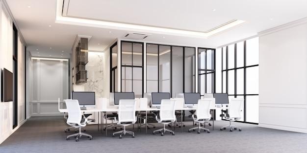 Área de trabajo de oficina de estilo clásico moderno con piso de alfombra gris y escritorio blanco representación 3d Foto Premium