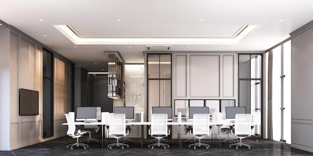 Área de trabajo de oficina de estilo clásico moderno con piso de mármol negro y representación 3d de escritorio blanco Foto Premium