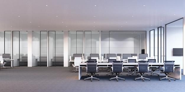 Área de trabajo de oficina moderna con piso de alfombra gris y escritorio blanco y sala de reuniones representación 3d Foto Premium