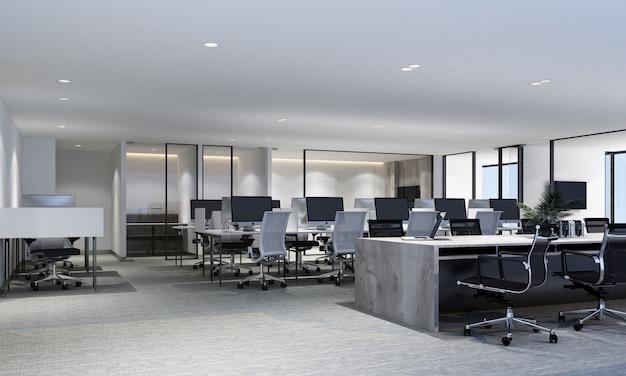 Área de trabajo en la oficina moderna con piso de alfombra y sala de reuniones render 3d interior Foto Premium