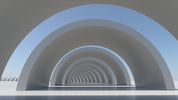 La arquitectura abstracta blanca, el espacio vacío, 3d rinde. Foto Premium