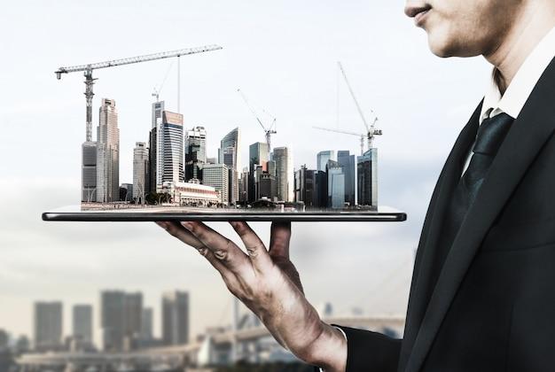 Arquitectura innovadora y plan de ingeniería civil. Foto Premium