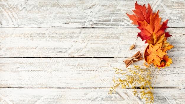 Arreglo de hojas sobre fondo blanco de madera con espacio de copia Foto gratis
