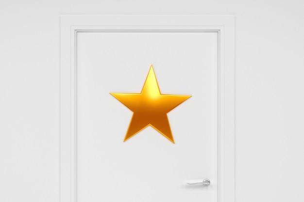 Arte conceptual sobre el tema de la celebridad. vestidor con una estrella en la puerta. Foto Premium
