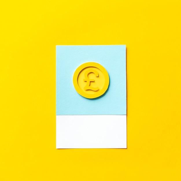 Arte de papel artesanal de una moneda de reino unido. Foto gratis