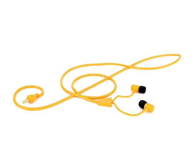 Los auriculares del concepto de la música con un cable amarillo bajo la forma de clave de sol aislados en el fondo blanco. 3d ilustración Foto Premium
