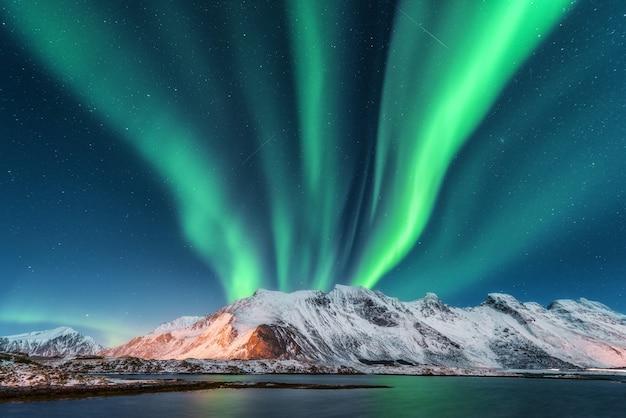 Aurora boreal, islas lofoten en noruega. Foto Premium
