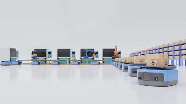 Automatización de fábrica con vehículo guiado automatizado y brazo robótico. Foto Premium