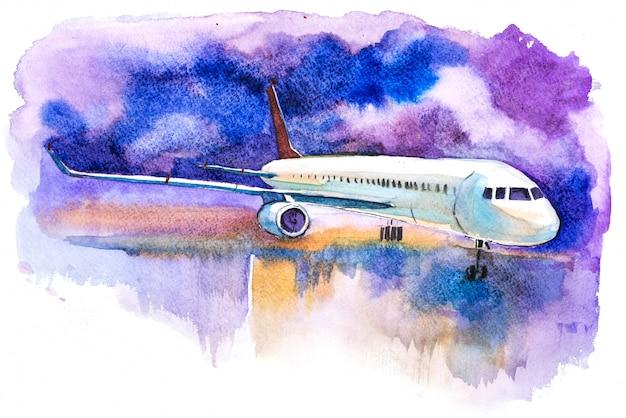 Avión listo para despegar de la ilustración de la acuarela de la pista Foto Premium