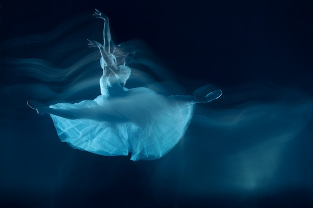 Un baile sensual y emocional de bella bailarina a través del velo Foto gratis