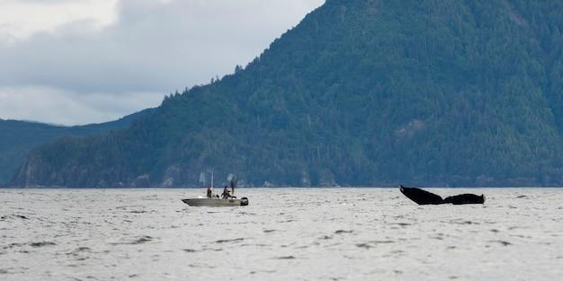 Ballena con barco de pesca en el océano pacífico, skeena-queen charlotte regional district, haida gwaii, gra Foto Premium