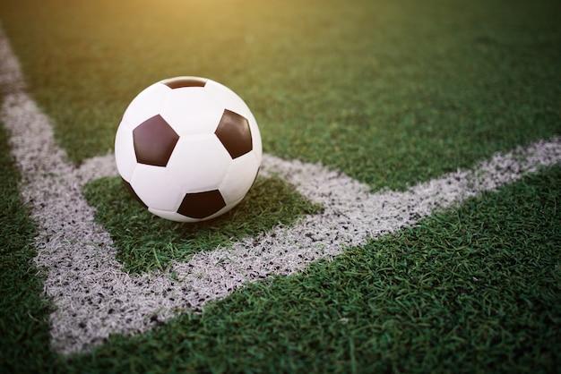 Balón de fútbol en la línea blanca en el estadio Foto gratis