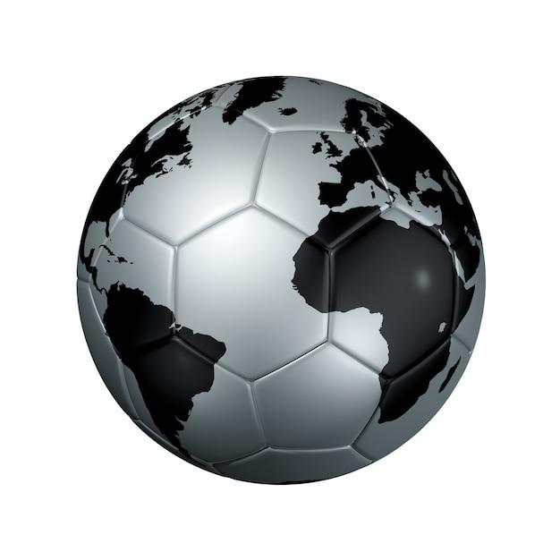 Balón de fútbol plateado globo del mundo Foto Premium