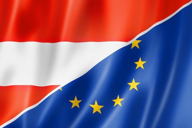 Bandera de austria y europa Foto Premium
