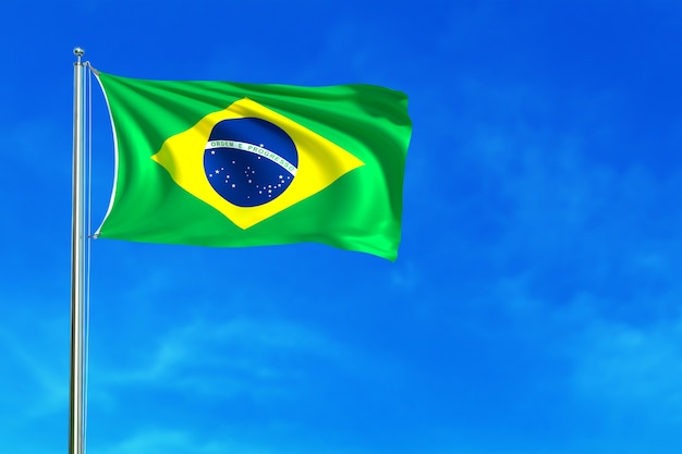 Bandera de brasil en la representación 3d del fondo del cielo azul Foto Premium