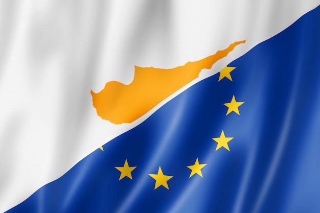 Bandera de chipre y europa Foto Premium