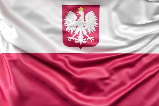 Bandera De Polonia Con El Escudo De Armas
