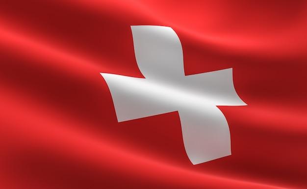 bandera de suiza. ilustración de la bandera suiza ondeando