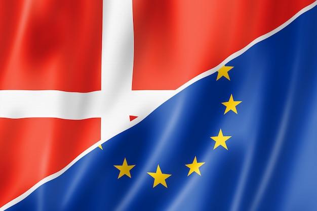 Bandera de dinamarca y europa Foto Premium
