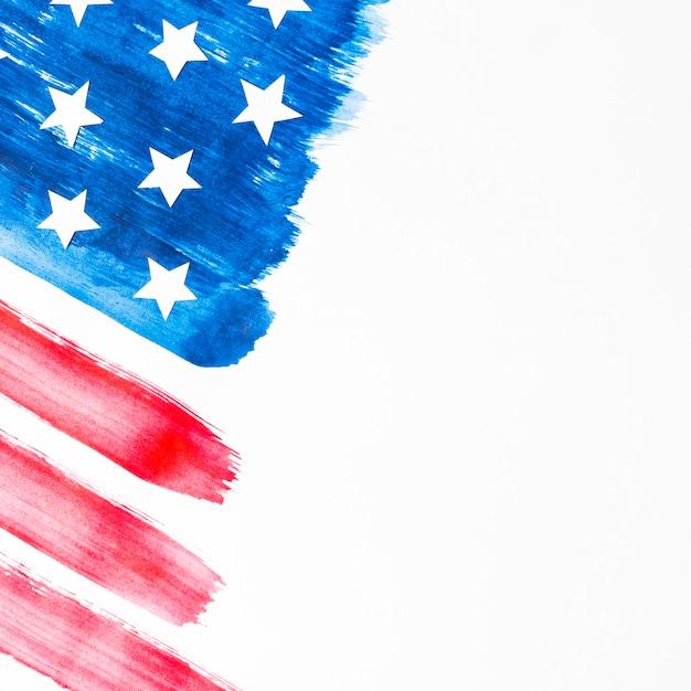 Bandera de estados unidos pintada aislada sobre fondo blanco Foto gratis