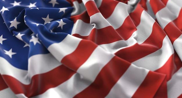 Bandera de los estados unidos ruffled bellamente agitando macro primer plano Foto gratis