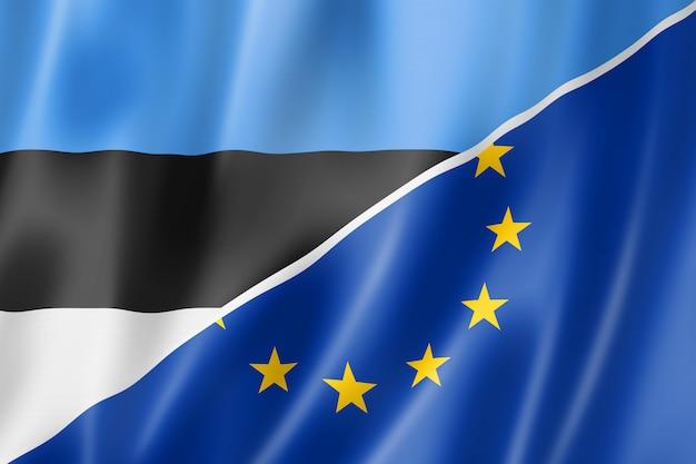 Bandera de estonia y europa Foto Premium