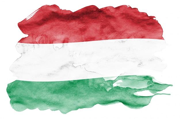 La bandera de hungría se representa en estilo líquido acuarela aislado en blanco Foto Premium