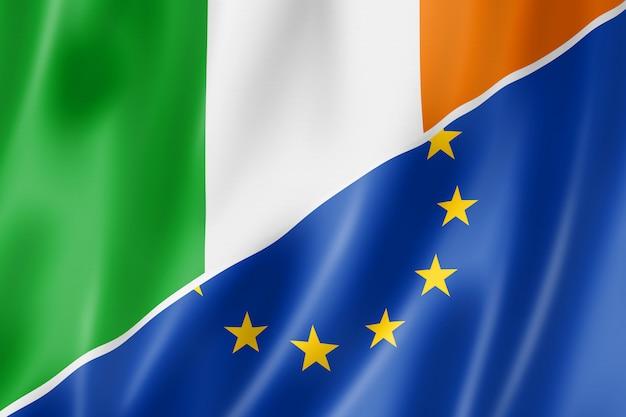 Bandera de irlanda y europa Foto Premium