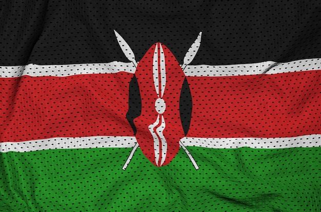Bandera de kenia impresa en una tela de malla de nylon y poliéster Foto Premium