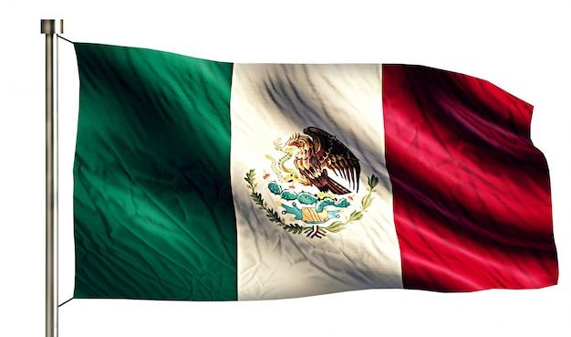 Bandera Nacional De México Aislado Fondo Blanco 3d