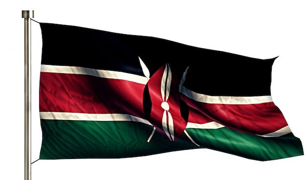 Bandera nacional de kenia aislado fondo blanco 3d Foto gratis