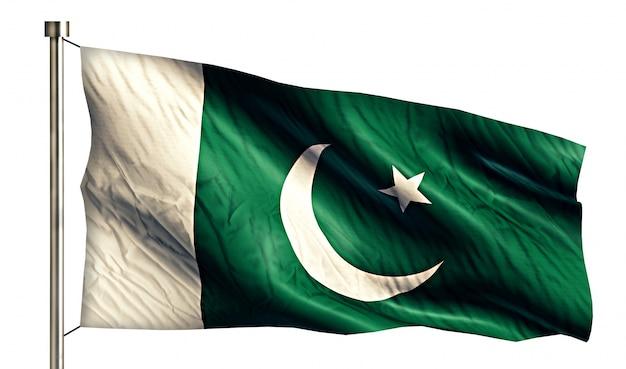 Bandera nacional de pakistán aislado fondo blanco 3d Foto gratis