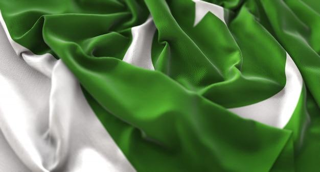 Bandera de pakistán ruffled bellamente acurrucado horizontal primer plano Foto gratis