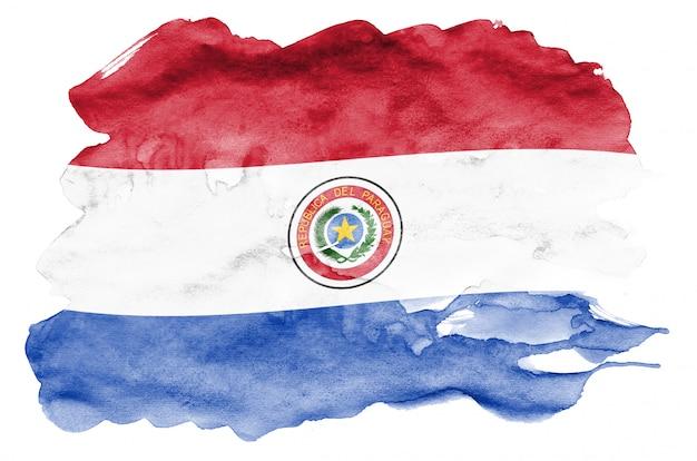 La bandera de paraguay se representa en estilo acuarela líquida aislado en blanco Foto Premium