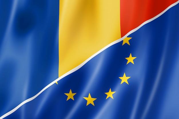 Bandera de rumania y europa Foto Premium