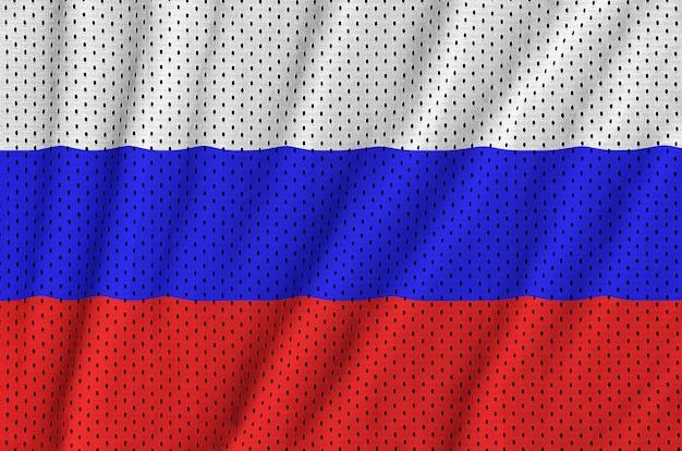 Bandera de rusia impresa en una malla de poliéster y nylon Foto Premium
