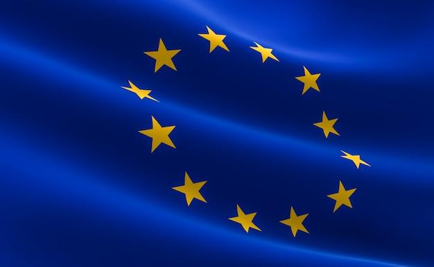 Bandera de la unión europea. ilustración 3d de la bandera de la ue ...
